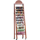 Wooden display for bracelets, 11 rows, brown