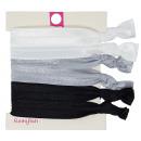 Hair Ties, Zopfgummis, 6 pieces, color: black / wh