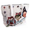 nagyker Kézi táskák: Tote Bag 3 baglyok, elágazik , kb 48 x ...