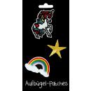 groothandel Fournituren & naaigerei: Aufbügel flarden Eenhoorn van de regenboog Star