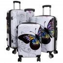 wholesale Suitcases & Trolleys: Polycarbonate case set 3pcs Butterfly