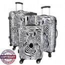 groothandel Koffers & trolleys: Polycarbonaat bagage 3tlg Zebra