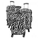 groothandel Koffers & trolleys: Polycarbonaat bagage 3tlg Zebra wit