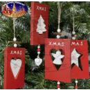 nagyker Üdvözlőkártyák: Fa dísztárgy kártya - karácsonyi dekoráció