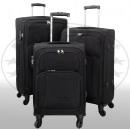 groothandel Koffers & trolleys: Nylon koffer 3tlg Malaga zwart
