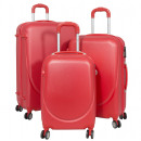 Großhandel Koffer & Trolleys: ABS-Kofferset 3tlg Bremen rot