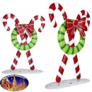 Decorative candy cane with wreath 67cm