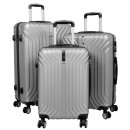wholesale Suitcases & Trolleys: ABS luggage set 3 pieces Palma silver case hard sh