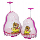 wholesale Suitcases & Trolleys: Polycarbonate childrens set 2pcs pink bear