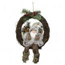 Santa 30cm in wreath with LED light