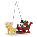 Tree decoration sledge with reindeer 11cm