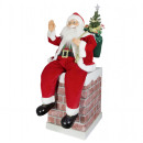 wholesale Burning Stoves: XL Animated Santa 90cm on fireplace Santa Claus