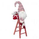 Gnome on ladder 42cm Christmas Deco Gnome