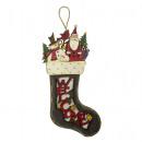 Großhandel Strümpfe & Socken: Hängedeko Strumpf 40cm mit LED Weihnachtsdeko