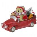 Bär im Auto mit LED Weihnachtsdeko