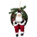Santa 40cm in wreath with LED light Santa Claus
