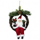 Santa 30cm in wreath with LED light Santa Claus