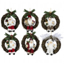Santa 18cm in wreath with LED light Santa Claus