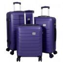 wholesale Suitcases & Trolleys: ABS case set 3 pieces Bristol blue trolley