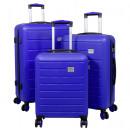 wholesale Suitcases & Trolleys: ABS case set 3 pieces Bristol light blue trolley