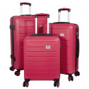 wholesale Suitcases & Trolleys: ABS case set 3 pieces Bristol red trolley