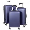 wholesale Suitcases & Trolleys: ABS suitcase set 3 pieces Trieste blue trolley