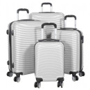 Großhandel Koffer & Trolleys: Polycarbonat Koffer Set 4tlg Bari silber