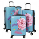 Polycarbonat Koffer Set 3tlg Rose Trolley