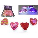 LED flashing heart, 7,5cm, 4 colors assorted , Bat