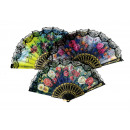 wholesale Business Equipment: Printed hand fan flamenco fabric & lace