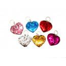 Keychain sequin heart 7cm