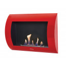 Lacquered red wall-mounted bio-fireplace INOX-CLA
