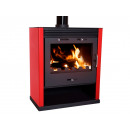 Wood stove large width red finish RUB