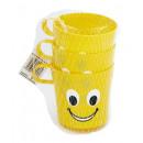 Großhandel Scherzartikel: Kunststoffbecher - Funny Face, 3er Pack
