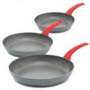 Großhandel Kaminöfen: Küche - Set von 3  großen Pfannen: Ø 26, 28 und 30