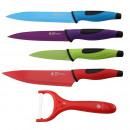 wholesale Knife Sets: KITCHEN - SET OF  COLOR STEEL 5 knives INOXI