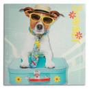 Hund mit Koffer  Leinwanddruck 40 x 40