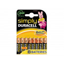 grossiste Batteries et piles: Batterie Duracell  Simply MN2400/LR03 AAA (8