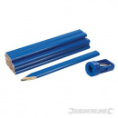 Pencils for carpenter and sharpener, 13 pieces