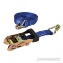 Tie-down strap with ratchet and hook J