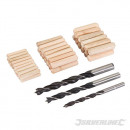 Set of drill bits with tang and dowels, 47 pieces