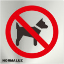 INOX SIGNAL PROHIBITED DOGS 120X120mm