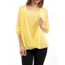 groothandel Kleding & Fashion: GEDRAPEERDE BLOUSE KANT GEEL S9003