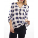 TOP ZIPPE CHECKED S9012 WHITE