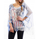 wholesale Fashion & Mode: TUNIC SHEER STRASS BLUE S9026