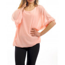 SHEER BLOUSE DOUBLED S9035 ROZE