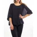 SHEER BLOUSE DOUBLED S9035 BLACK
