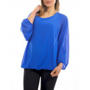 groothandel Kleding & Fashion: SHEER BLOUSE DOUBLED S9035 ROYAL