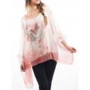 TUNIC SHEER STRASS BUTTERFLY S9036 PINK