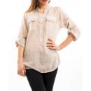 Großhandel Shirts & Tops: TUNIQUE EFFECT  GEWASCHENE BEIGE S7023